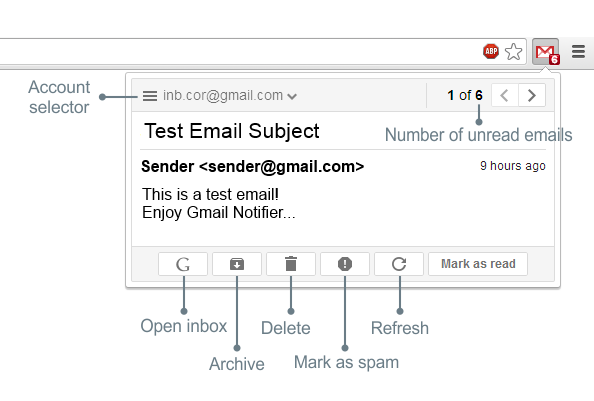 Gmail Notifier: get automatically notified for new emails
