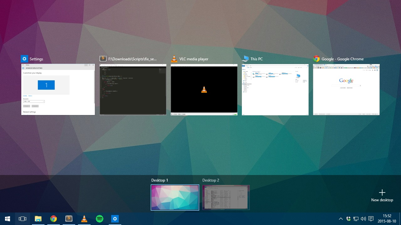 Windows 10: how to create and manage multiple desktops