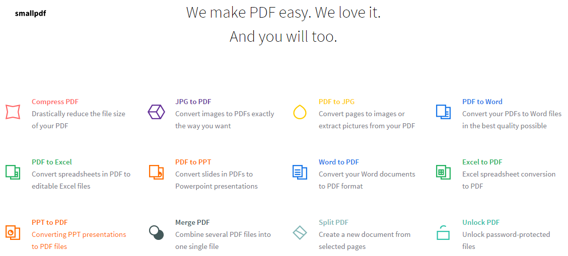 Compress, merge/split, convert, unlock PDF online